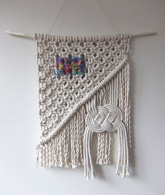 Hand Made Macramé Wall Hanging with Large by MyMacrameArt on Etsy