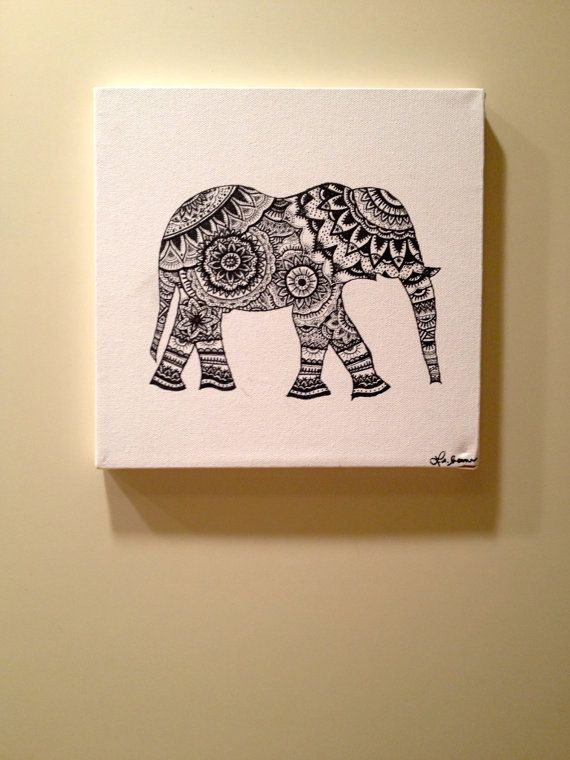 Hand painted ink canvas of intricate elephant - WildlyBelle