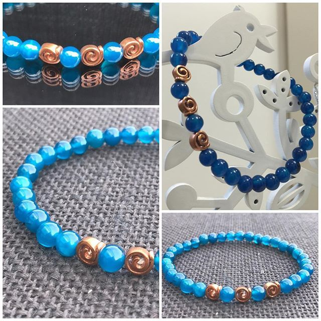 Sale! Spiral Bracelet with Denim Blue Agate and Copper Swirls. 6mm beads on crystal elastic. $45 not including postage. #marshyrjewellery