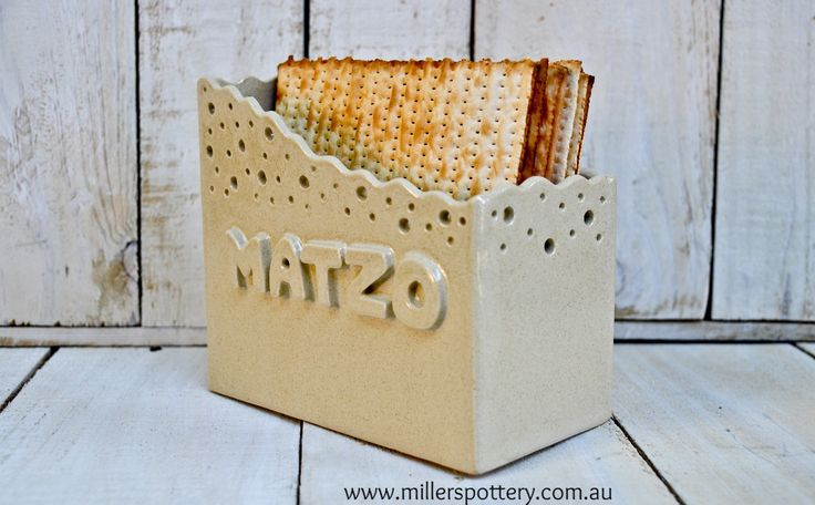Australian handmade ceramics and Judaica - Passover Pessach Matzo Plate  מצה פסח by www.millerspottery.com