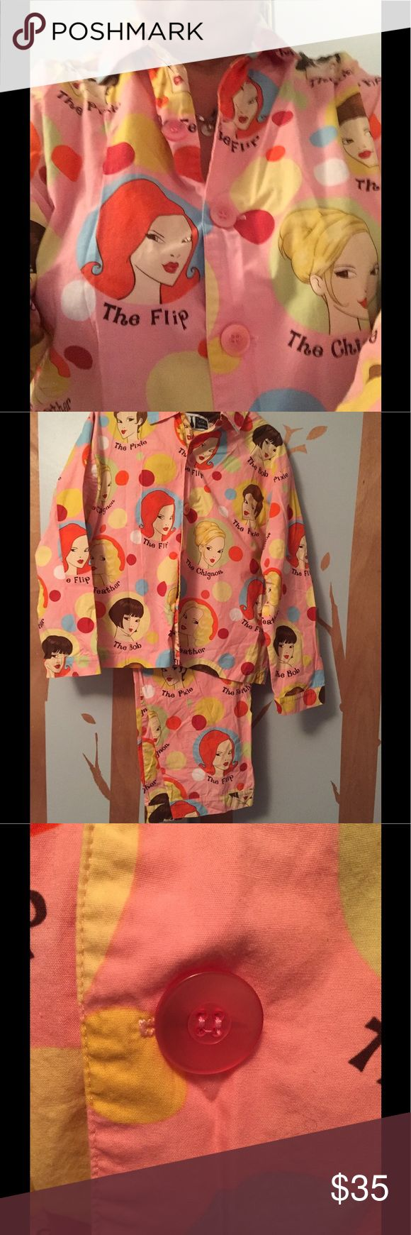 The cat's pajamas Ladies pajamas The cutest grownup pajamas I have ever seen Retro appeal in 100% cotton long pants and buttonup long sleeve top pictures of different styles of hairdos size medium I wear size 18 and the fit me but I like my pjs a bit looser My loss someone else's gain the cat's pajamas Intimates & Sleepwear Pajamas
