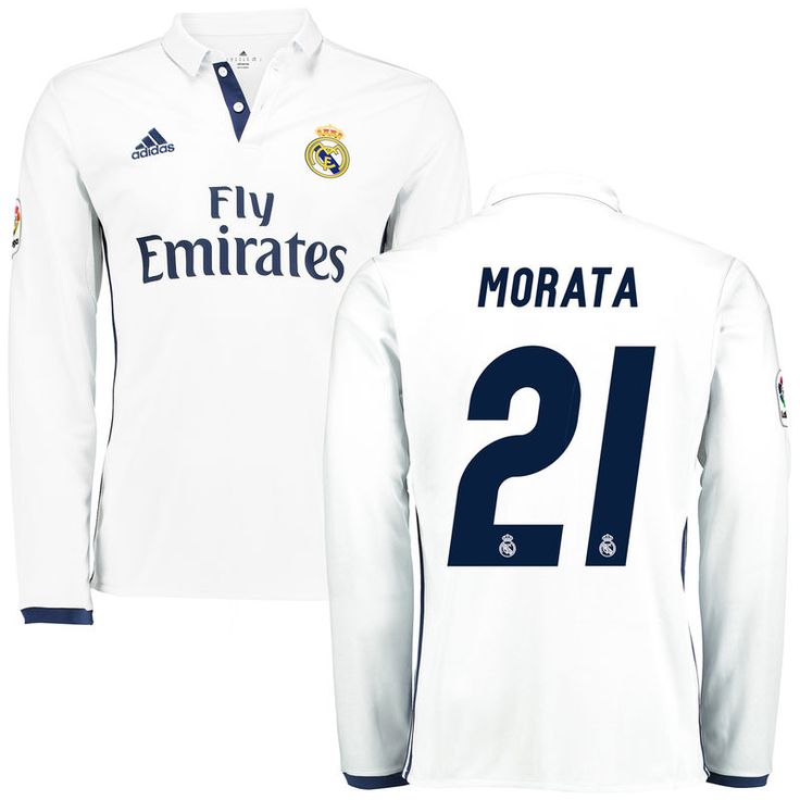 Morata Real Madrid adidas 2016/17 Home Replica Long Sleeve Jersey - White