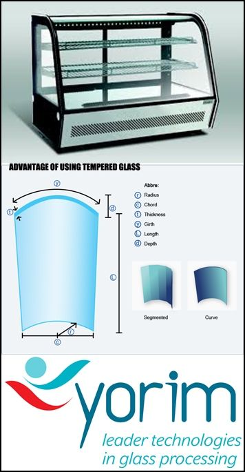 Curved glass fridge is made of float glass which is firstly heated to soften point on metal mould and then curved to shape by weight of glass itself and outside force, and finally cooled down. Curved tempered glass, however, is made by fast cooling down by special facility.  sales@cammerkezi.com