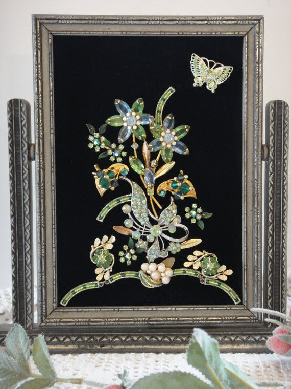 Framed Jewelry Art Green Flower Picture Indoor by VintageRedo