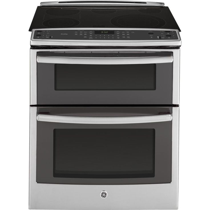 GE Profile 6.6 cu. ft. Slide-In Double Oven Electric Range with Convection (Lower Oven) in Stainless Steel, Silver/Gray