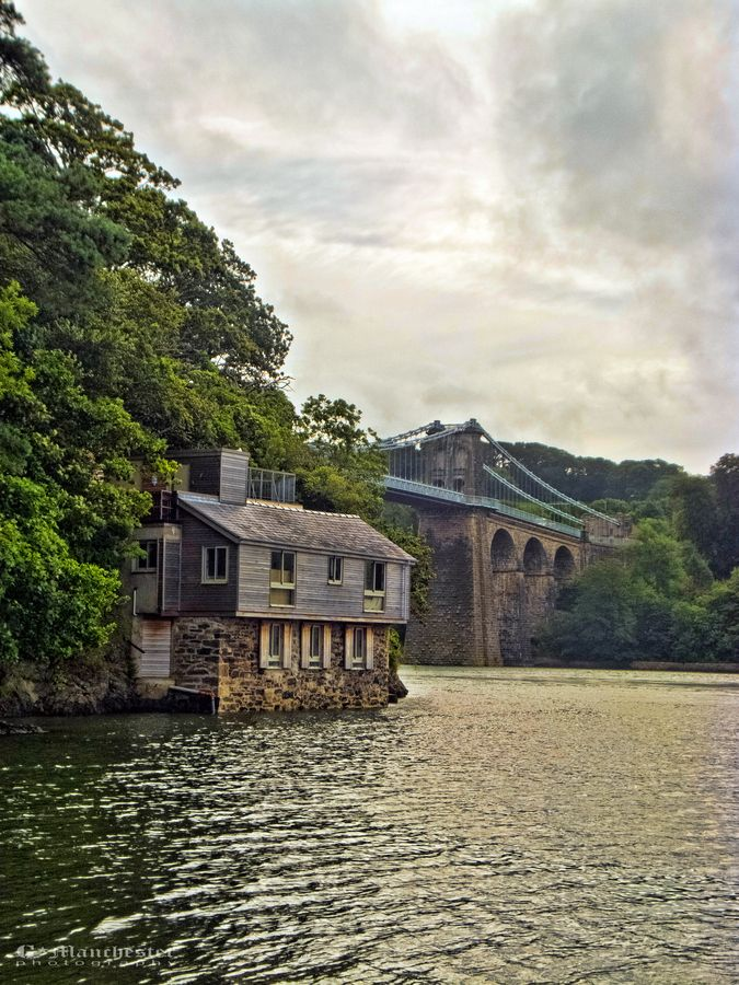 Menai Bridge, Isle of Anglesey, North Wales.With all the canoeing I've done here, why haven't I seen this building. I would remember that one surely.