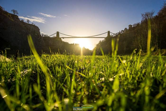 clifton suspension bridge from the grass