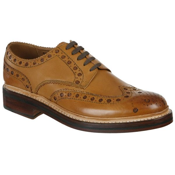 Grenson Men's Archie Shoes ($150) ❤ liked on Polyvore featuring men's fashion, men's shoes, tan, mens leather shoes, mens shoes, mens brogues, mens tan brogue shoes and grenson mens shoes