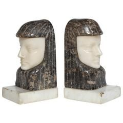 Art Deco Egyptian Revival Marble and Alabaster Bookends