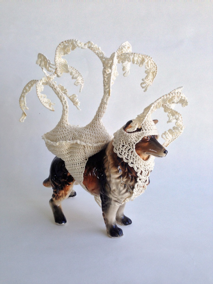 china ornament with croquet saddle and headwear by Lynda Wilson