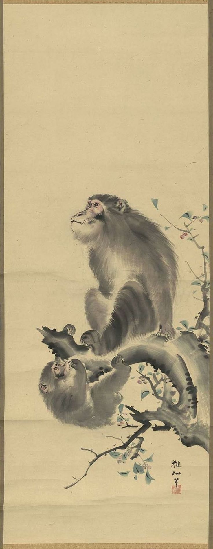 Monkeys on a Tree • 樹上二匹猿図 • Japanese, Edo period, 19th century • Mori Sosen, Japanese, 1747–1821; http://amyipaguana.tumblr.com/post/36182107780/monkeys-on-a-tree-japanese-edo-period