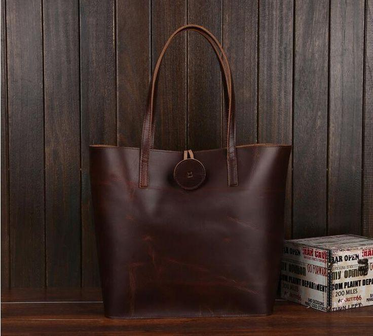 Handcrafted Vintage Crazy Horse Leather Women Tote Bag, Shopping Bag, Shoulder Bag YD006
