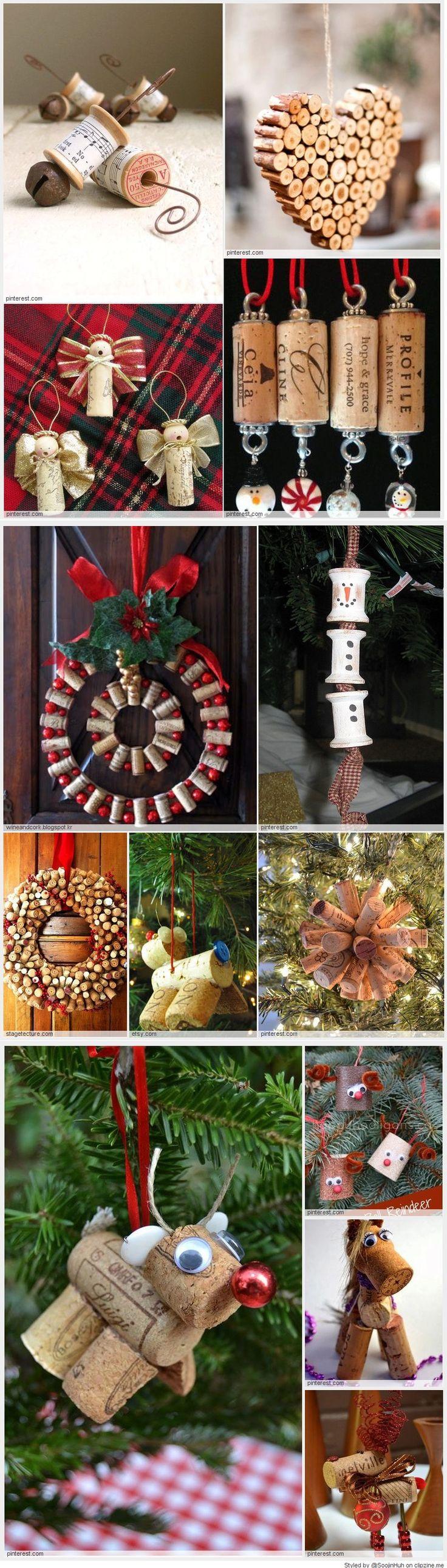 Cork christmas decorations - Easy Cork Christmas Ornaments