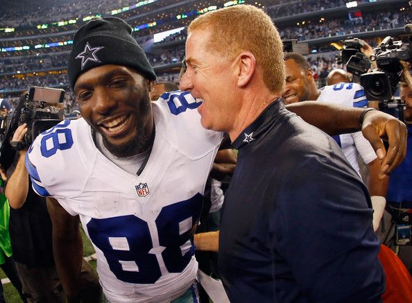 Dez Bryant and Jason Garrett Photos Photos - Dez Bryant #88 of the Dallas Cowboys celebrates with head coach Jason Garrett of the Dallas Cowboys after the Cowboys beat the Colts 42-7 at AT&T Stadium on December 21, 2014 in Arlington, Texas. - Indianapolis Colts v Dallas Cowboys