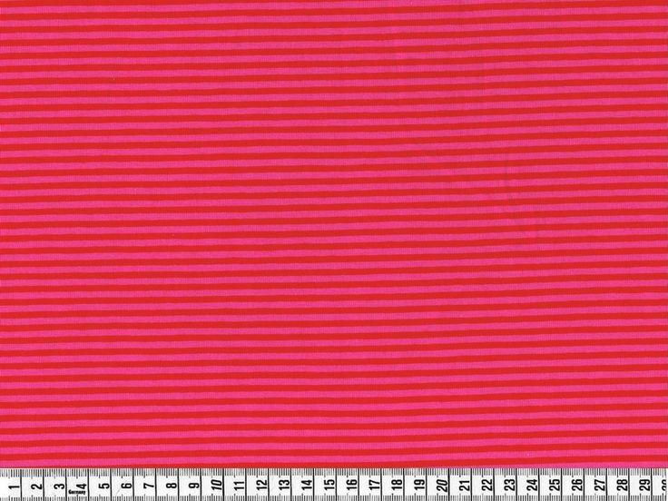 Stof - Stræk jersey; Smalle striber, pink/rød, pr. 0,25 m. - STOF og STUFF - kreativ livsstil | Stof, metervarer og tekstiler.