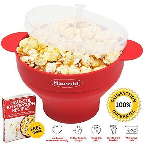 Microwave Air Popcorn Popper - Silicone Popcorn Maker Bowl For Home - Free Of...