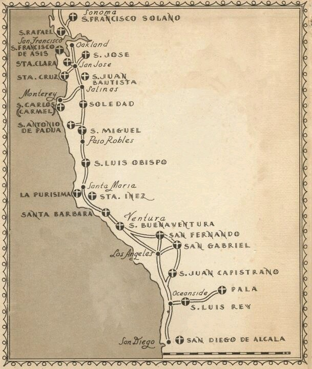 Map of The Old Franciscan Missions in California