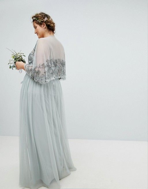 42fb30a2a5 Maya Plus Sequin Cape Tulle Skirt Maxi Bridesmaid Dress | PARTY ...