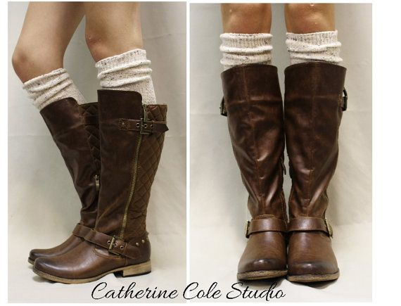"""ALPINE ADORE in Natural Fleck, A tall Must Have Sock for all boot styles """"Alpine Collection"""" Made in America by  Catherine Cole Studio BKS0 on Etsy, $20.00"""