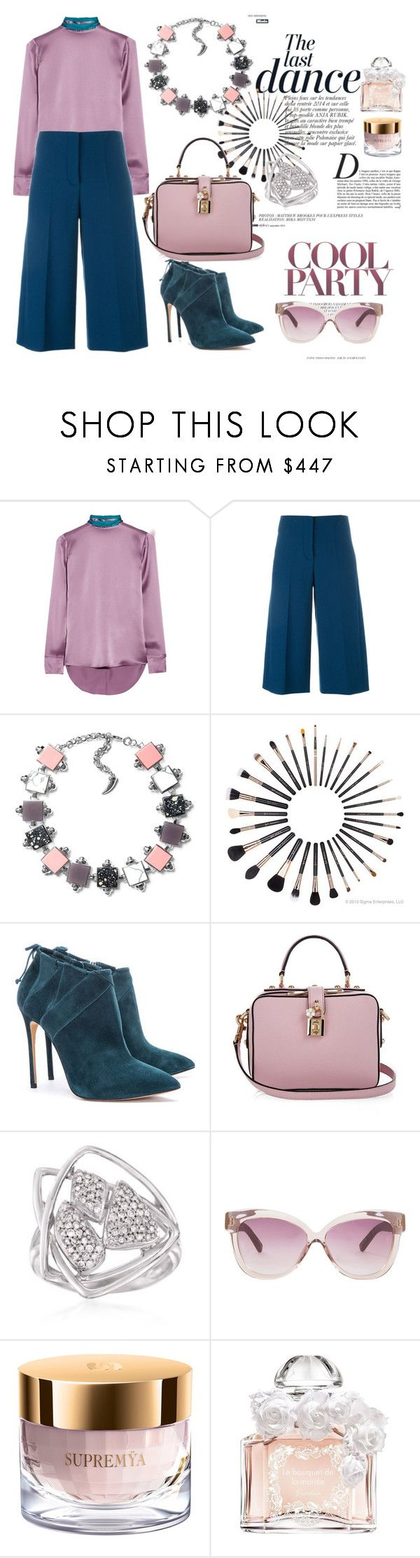 Untitled #195 by denisa-marcu on Polyvore featuring Matthew Williamson, Cédric Charlier, Dolce&Gabbana, Ross-Simons, Linda Farrow Luxe, Guerlain, Sisley Paris, Anja, women's clothing and women's fashion