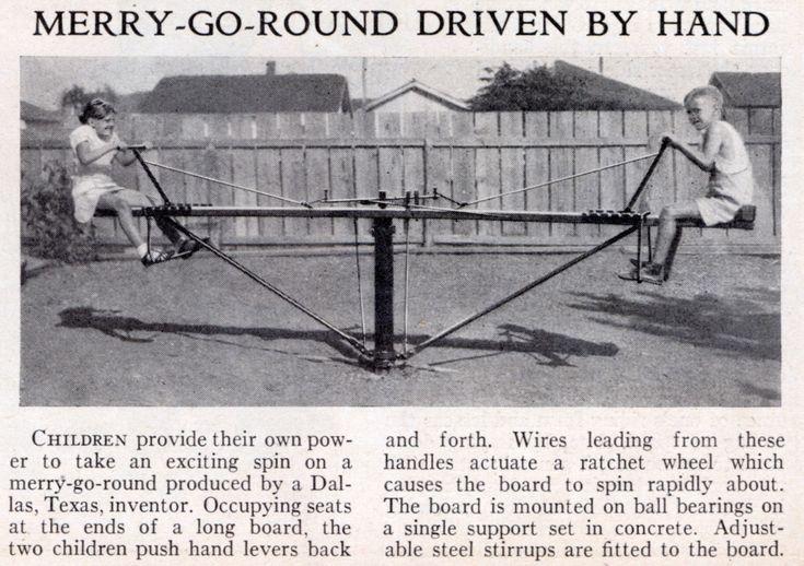 homemade playground | MERRY-GO-ROUND DRIVEN BY HAND | Modern Mechanix