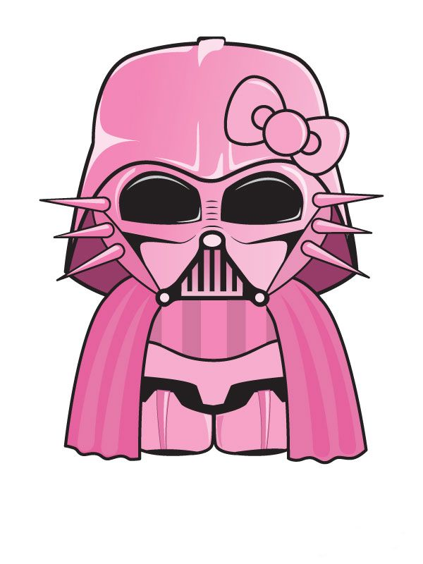 """Pink """"Hello Kitty"""" star wars character illustration series by Titareco,France."""