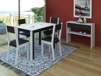 Conjunto de Mesa com 4 Cadeiras Estofadas Madesa - Smart