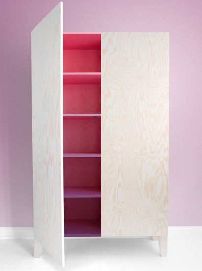 how are you - plywood cabinet with a pop of color