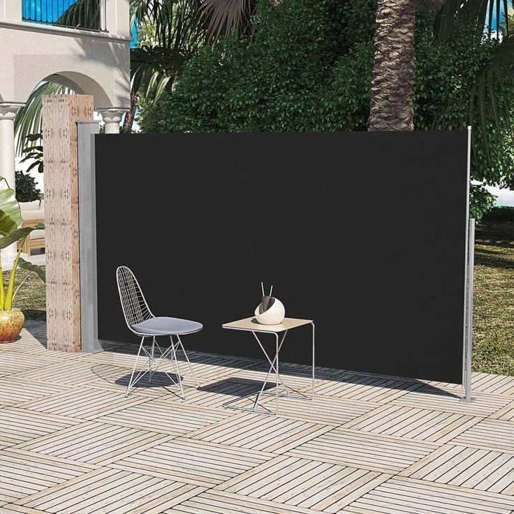 YOUTHUP Patio Retractable Side Awning Folding Screen Fence Privacy Divider with Steel Pole 71x118 Black