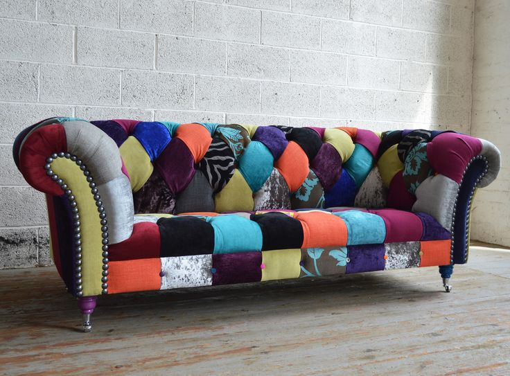 Modern British And Handmade Walton Patchwork Chesterfield Sofa. Totally  Unique Fabric 3 Seater, Shown In Multicoloured Fabrics.