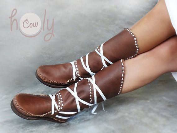 100 Handmade Leather Groovy Brown & White leather moccasins by HolyCowproducts, $225.00