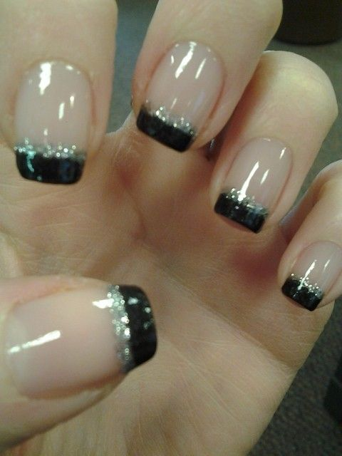 """Black and Silver French Manicure. 2nd anniversary nails. According to Kasie, these nails are """"very me."""" I love this twist on a classic-- one of my favorite nail looks."""