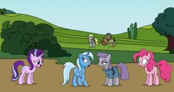 Size: 1618x864 | Tagged: artist:emeraldblast63, derpy hooves, doctor whooves, female, food, mare, maud pie, pegasus, pinkie pie, pizza, pony, rock solid friendship, safe, spoiler:s07e04, starlight glimmer, trixie
