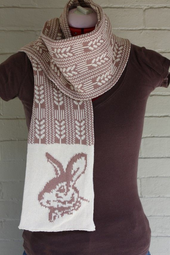 Rabbit & Leaves Cotton Scarf by Tiny Mammoth Knits - love the patterns in their scarfs. #scarf #knitting-machine #Vegan
