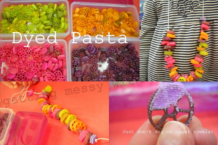 "Dye pasta & make necklaces ("",)"