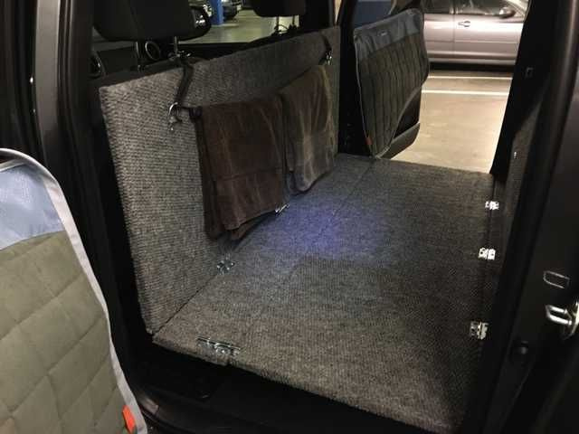 Custom Dog Platform In Rear Of 2016 Tacoma Double Cab Back Seat Dog Cover Tacoma Seat Covers Rear Seat