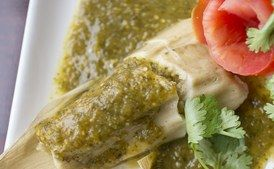 """Tamales con Salsa Verde y Pollo Masa labeled """"masa preparada para tamales"""" often contains baking powder and salt, so don't add either if it does. Soak the husks three hours ahead or overnight."""