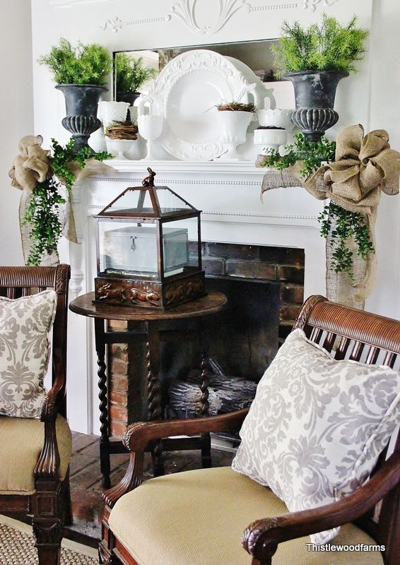 table in front of the fireplace in summerHouse Tours, Decor Ideas, Fireplaces Mantels, Thistlewood Farms, Chairs, Living Room, Christmas, Burlap Bows, Mantles