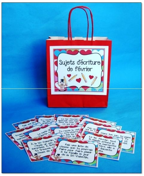 Sujets d'écriture de la St-Valentin (8-10 ans) : Au cours de cette activité, les élèves rédigent un texte à partir de cartes pigées dans le sac des sujets d'écriture du mois de février.