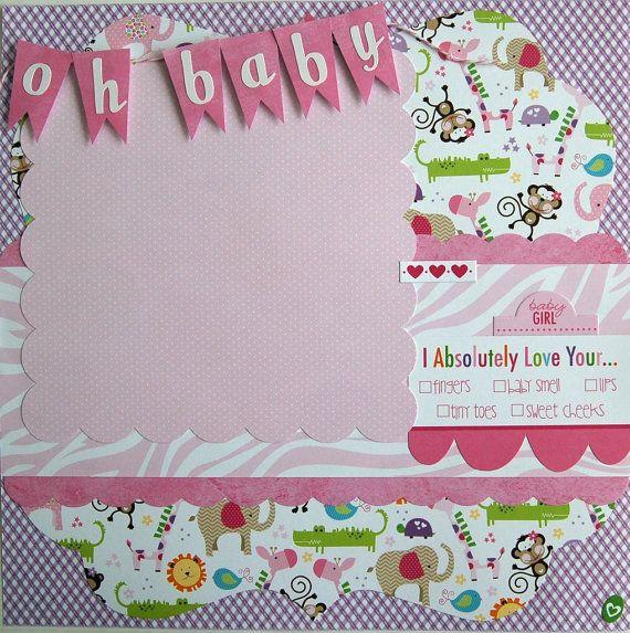 baby girl  premade single 12x12 scrapbook page by by urbansavanna, $8.75