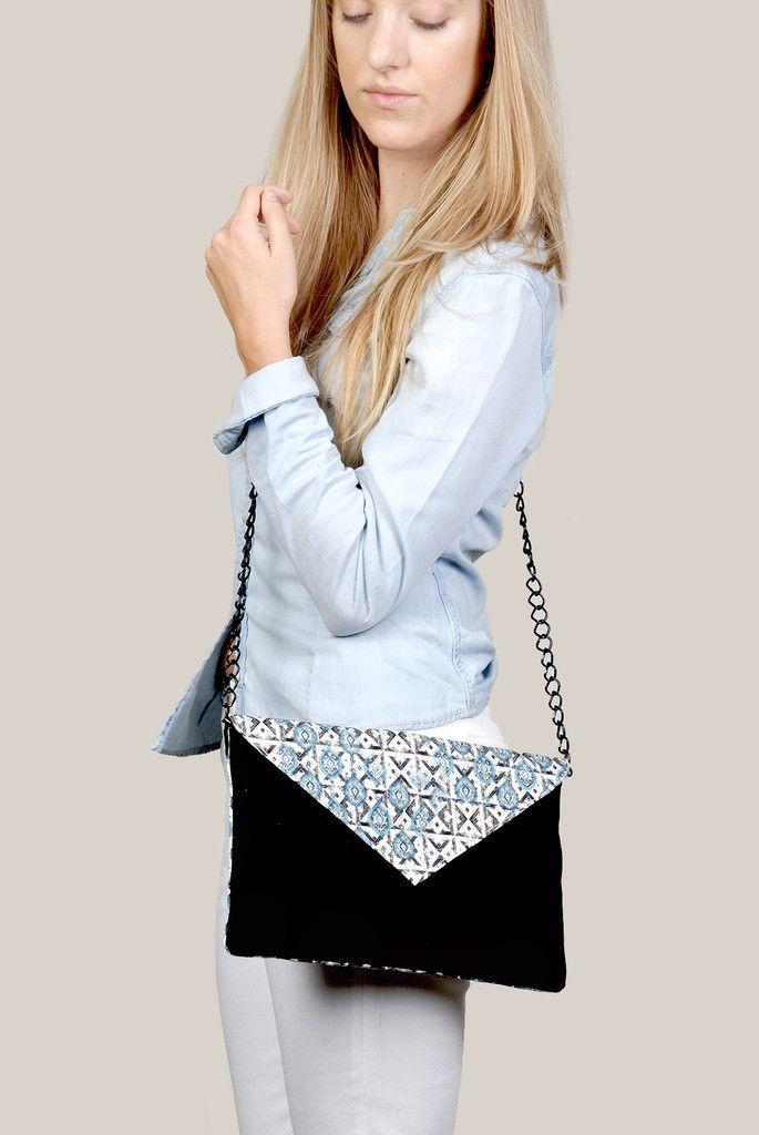 Pop Lotus Envelope Clutch   Sling Bag   Handcrafted