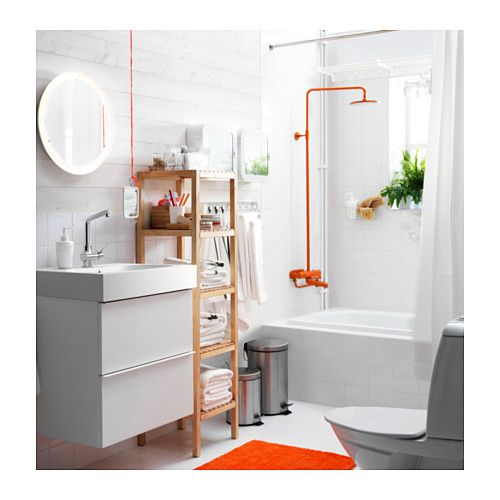 STORJORM Mirror with built-in lighting, white white 18 1/2