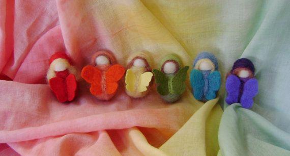 Rainbow Butterfly Children  New Zealand wool by softearthart, $30.00