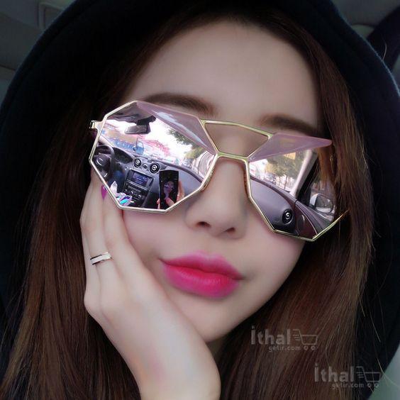 UV400 Korumalı, İnce Metal Alaşımlı Güneş Gözlükleri - IGD090613365 - Köşegen Tasarımlı Güneş Gözlükleri, Ayna Camlı Güneş Gözlükleri: