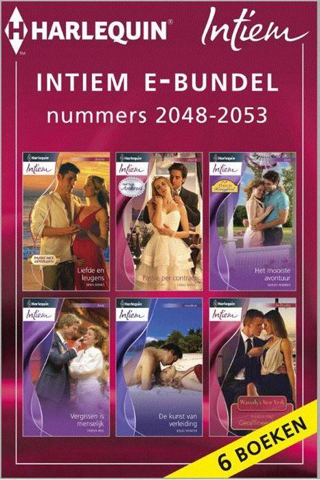 Intiem e-bundel nummers 2048-2053  Kiest u voor gemak? Met deze bundel heeft u in één keer alle zes Intiem-romans (nummers 2048 t/m 2053) van de maand in handen. Zo kunt u lekker doorlezen en nog gemakkelijker genieten van uw favoriete reeks! (1) LIEFDE EN LEUGENS van MAYA BANKS - (Passie met gevolgen) Hoewel Ryan zijn verloofde niet voor niets de deur uit heeft gezet kan hij haar toch niet vergeten en besluit hij naar haar op zoek te gaan. Wanneer hij haar vindt ziet hij dat ze zwanger is…