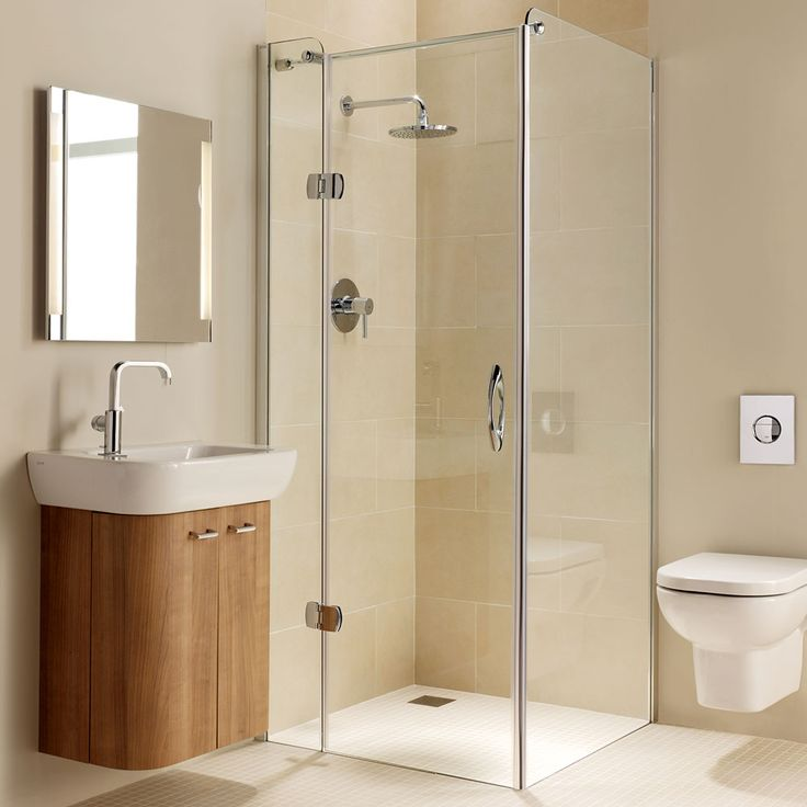 Small Bathroom With Frameless Shower: Coram Premier Frameless Hinged Shower Door, 900mm Wide