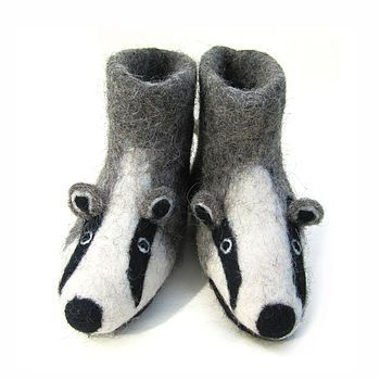 Adult Billie Badger Felt Slippers