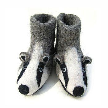 Adult Billie Badger Felt Slippers