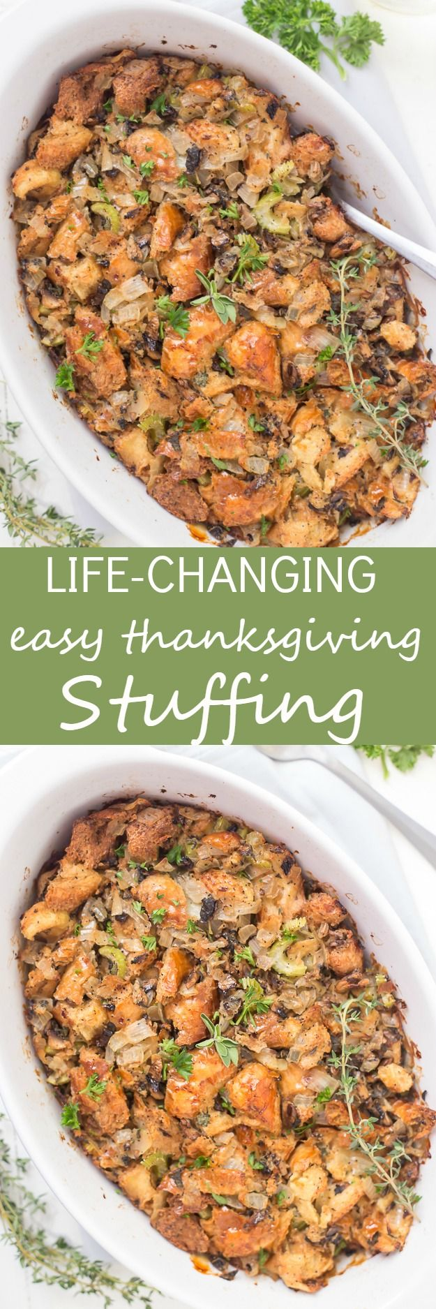 This Life-Changing Easy Thanksgiving Stuffing is my go-to stuffing recipe! Homemade stuffing is the best when made with fresh herbs, torn-apart bread, and mushrooms! A must-have this holiday! via @galmission