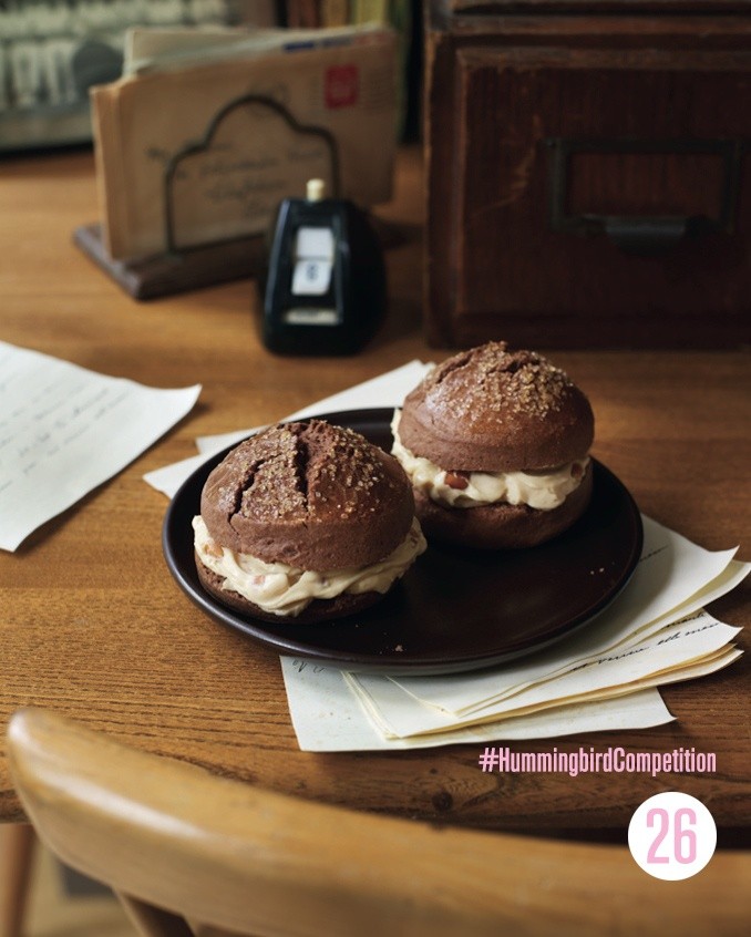 Chocolate Shortcakes with a Peanut Butter Filling. Enter our #HummingbirdCompetition by March 6th, 2013 for a chance to win 1 of 3 free Home Sweet Home cookbooks. Rules and how to enter can be found here: https://www.facebook.com/notes/the-hummingbird-bakery/win-a-copy-of-home-sweet-home/567680519908799